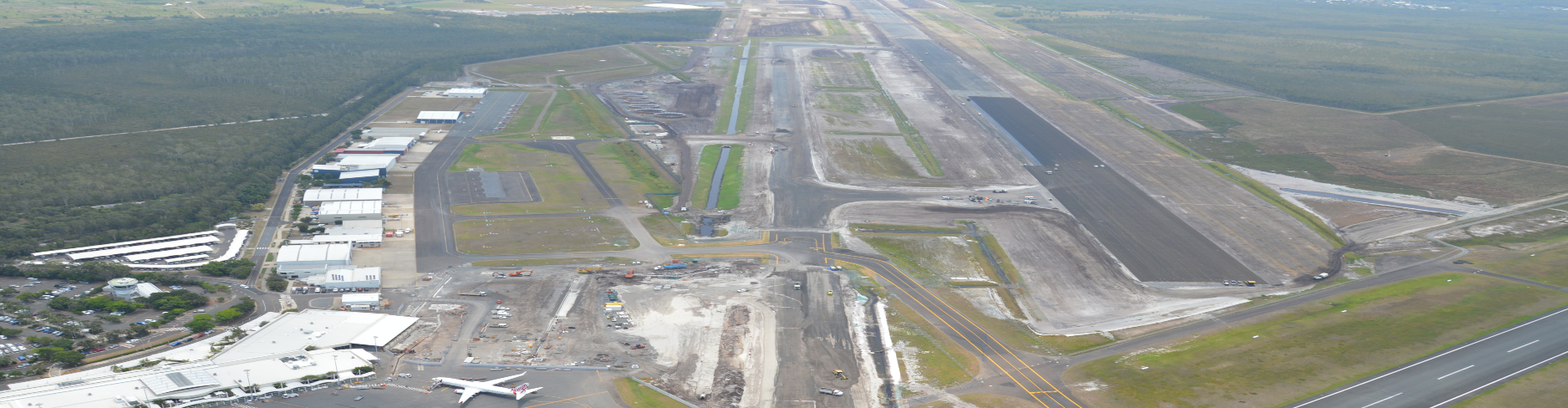 Aerial image of the Sunshine Coast Airport Expansion Project under construction