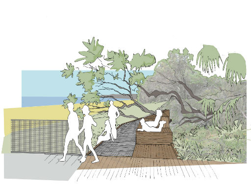 Artist impression people on boardwalk