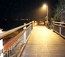 Kings Beach to Happy Valley boardwalk lights up