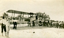 Aeroplane offering joy flights to holiday crowds on Maroochydore Beach, ca 1927