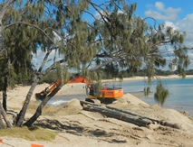 Machinery moving sand at Mooloolaba Beach
