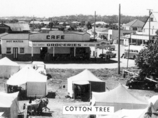 Camping grounds and shopping area, Cotton Tree, ca 1950