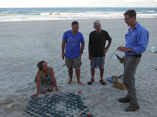 Coolum and North Shore Coast Care volunteers Leigh, Luke, Edwin and Darcy at Marcoola turtle nest