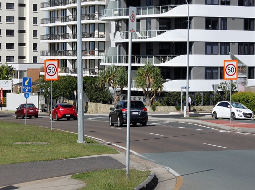 Mooloolaba 50km speed limit road signage
