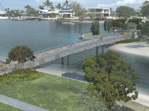 Artist impression of the Mooloolaba bicycle and pedestrian bridge