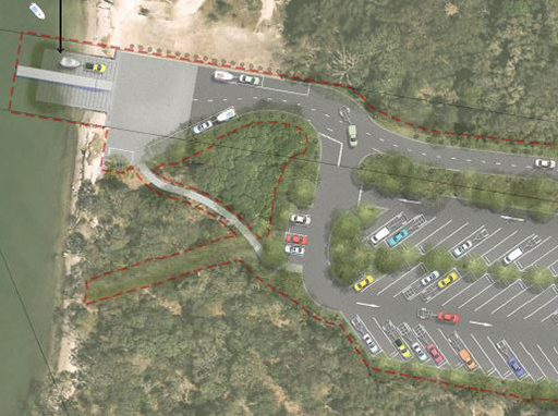 Artist impression of the new boat ramp and car park