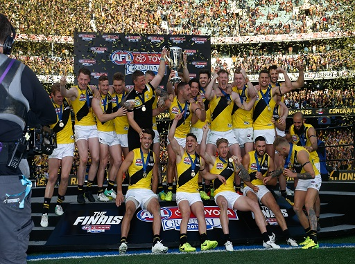 AFL premiers Richmond Tigers bring the winning cup to fans
